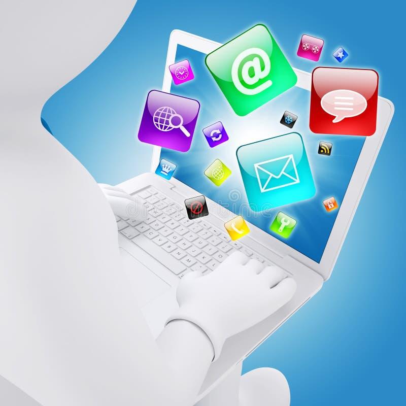 homme 3d blanc s'asseyant avec un ordinateur portable illustration stock