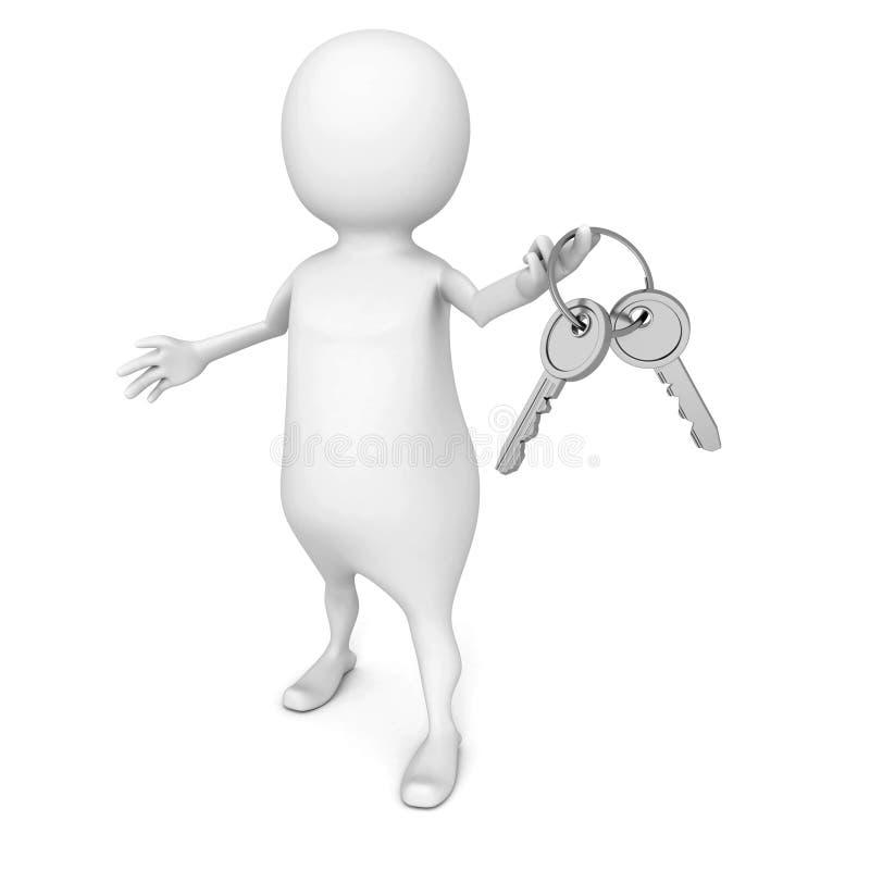 Homme 3d blanc tenant le groupe de clés brillantes métalliques illustration stock