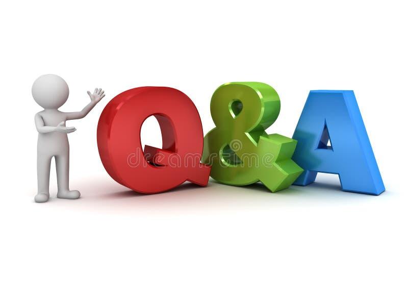 homme 3d concept de questions et réponses tenant et présent de Q et d'A mot illustration de vecteur