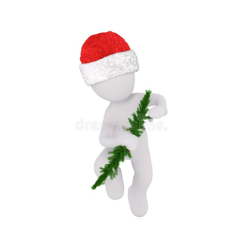 homme 3d décorant un arbre de Noël illustration stock