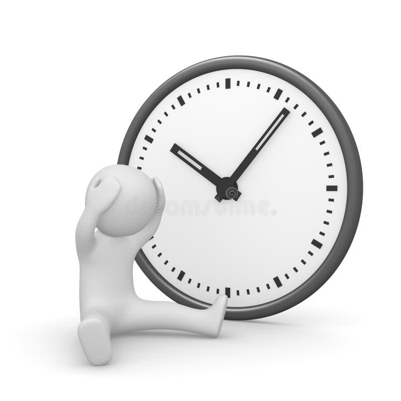 Homme 3d désespéré avec l'horloge illustration stock