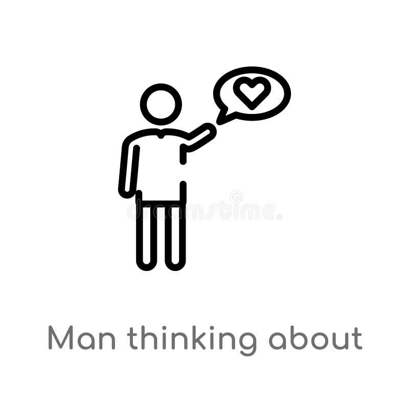 homme d'ensemble pensant à l'icône de vecteur d'amour ligne simple noire d'isolement illustration d'élément de concept de personn illustration libre de droits