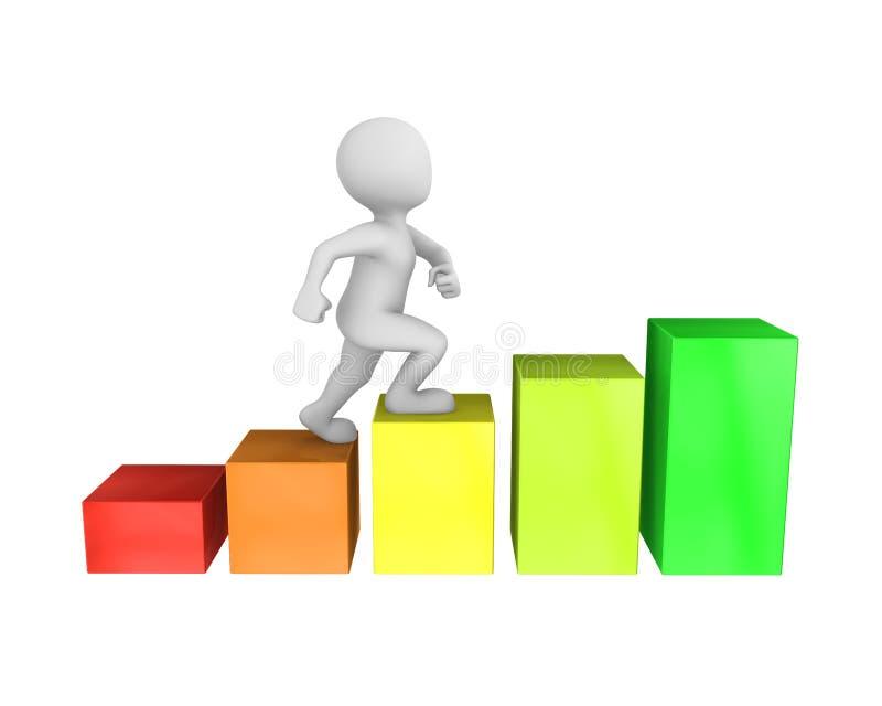 homme 3d et concept de croissance de carrière illustration stock