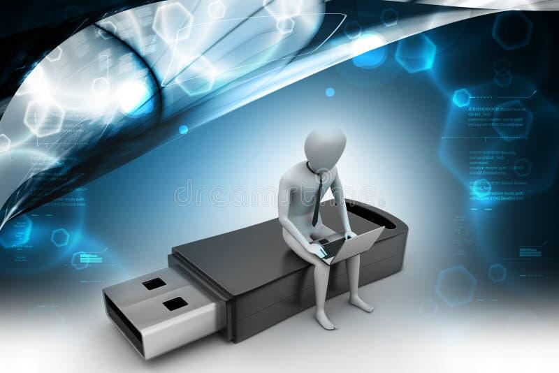 homme 3d et ordinateur portable reposant l'usb illustration stock