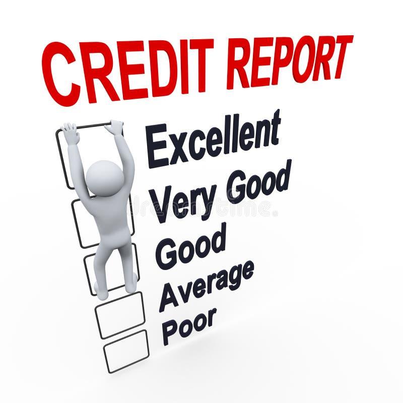 homme 3d et rapport de score de crédit illustration stock
