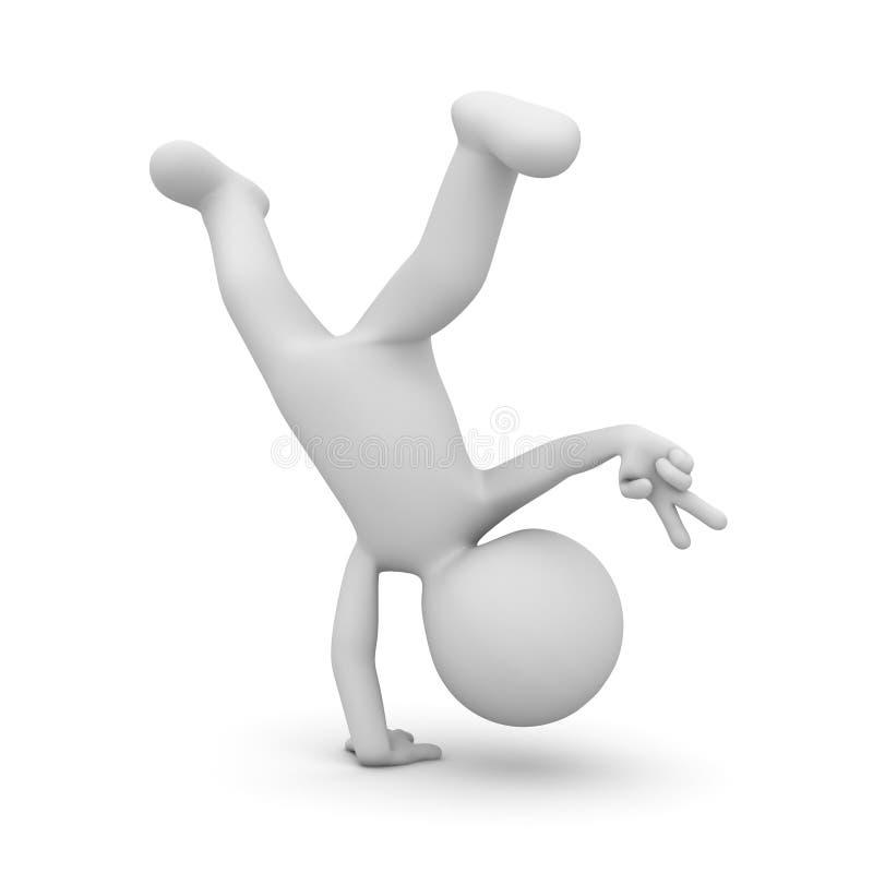 homme 3d faisant la roue et montrant le signe de main de la victoire v d'isolement sur le fond blanc avec l'ombre illustration libre de droits
