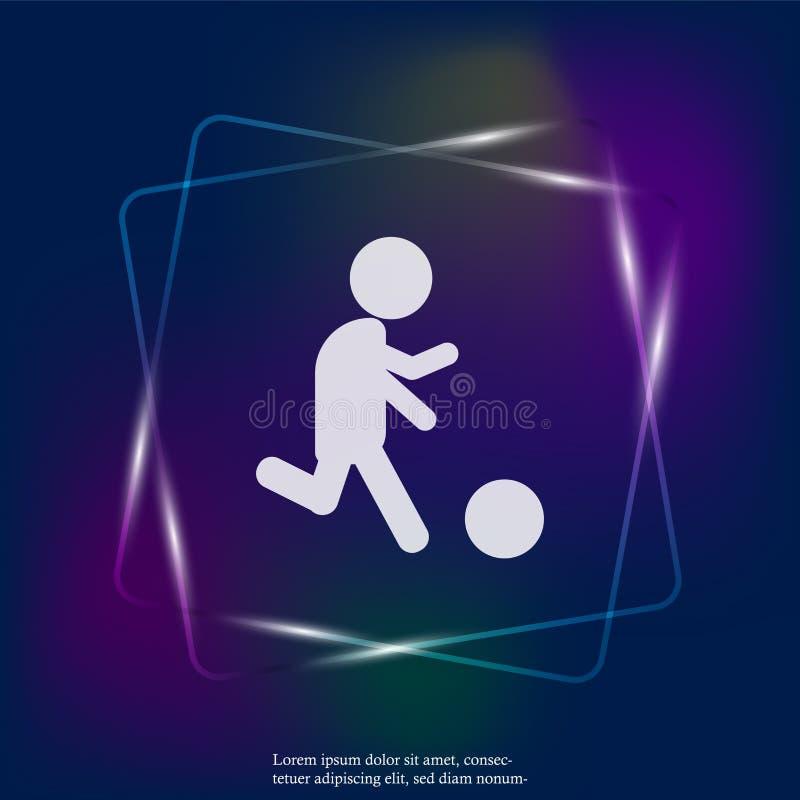 Homme d'icône de vecteur jouant la boule Footballeur avec la bille Joueur de football néo- illustration libre de droits