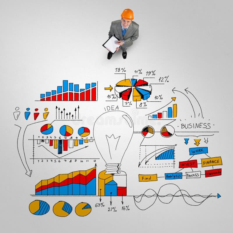 Homme d'ingénieur et sa stratégie commerciale illustration stock