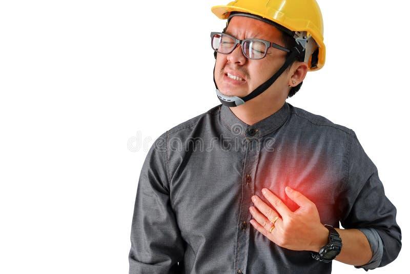 Homme d'ingénieurs avec des symptômes de maladie cardiaque photographie stock libre de droits
