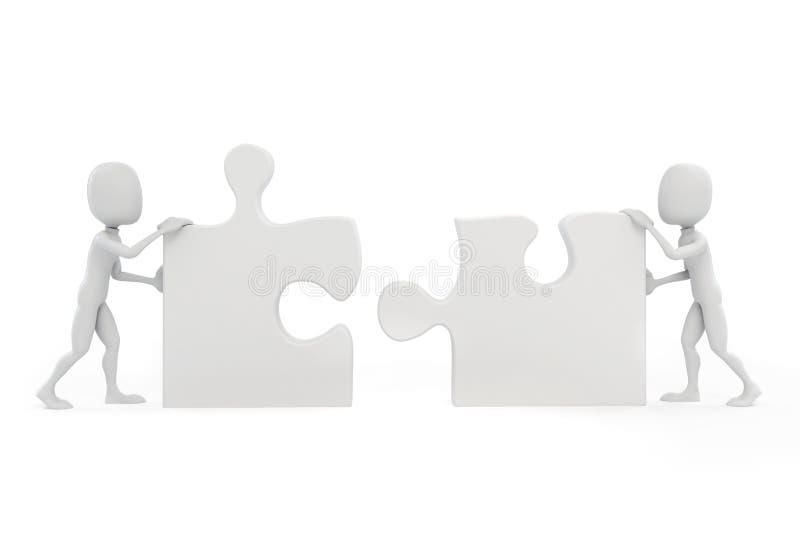 homme 3d joignant deux morceaux de puzzle illustration stock