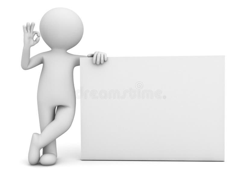 homme 3d montrant le signe correct de main avec le conseil vide au-dessus du blanc illustration de vecteur
