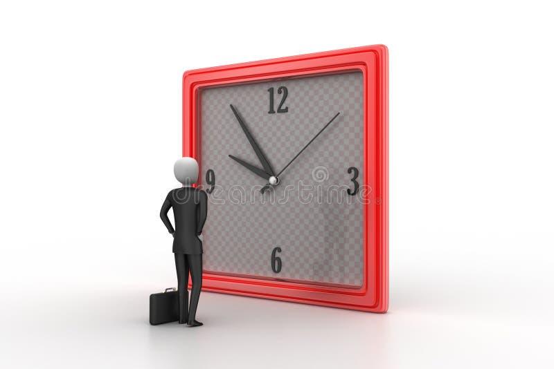 homme 3d observant l'horloge illustration stock