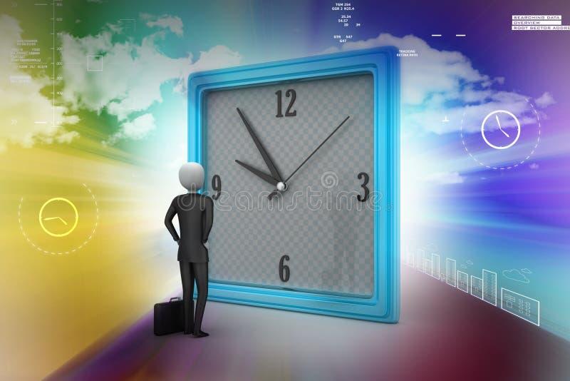 homme 3d observant l'horloge illustration libre de droits