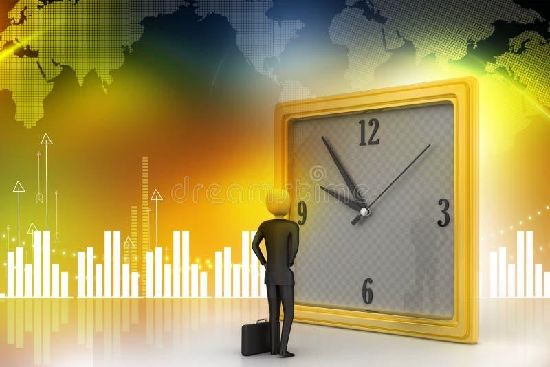 homme 3d observant l'horloge illustration de vecteur