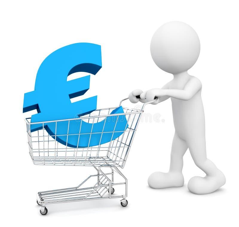 homme 3D poussant un chariot avec l'euro signe illustration de vecteur