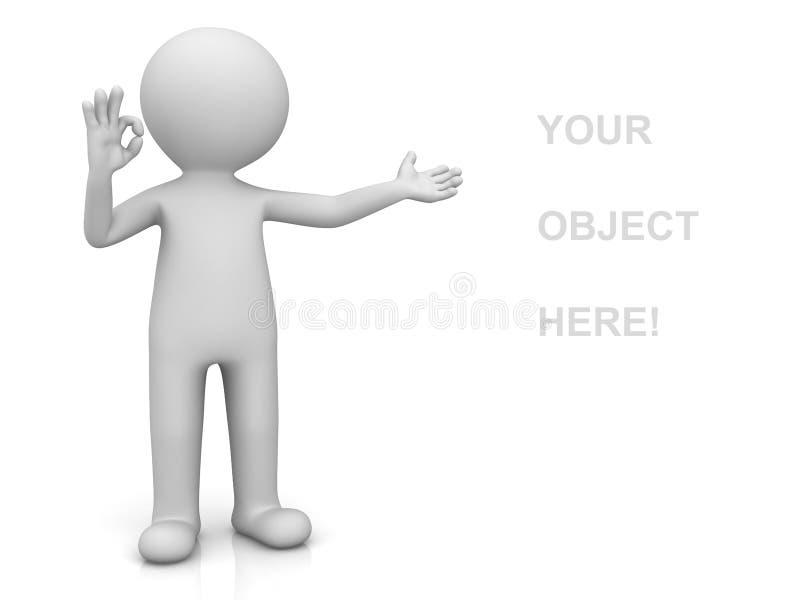 homme 3d présent votre produit et montrant le geste de main correct au-dessus du blanc illustration libre de droits