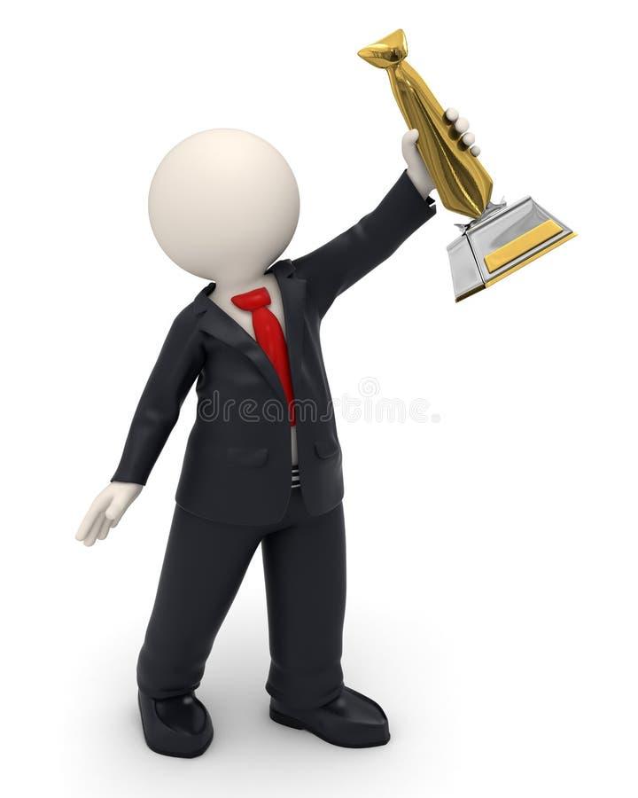 homme 3d - récompense de trophée de lien de victoire et d'or d'affaires illustration libre de droits