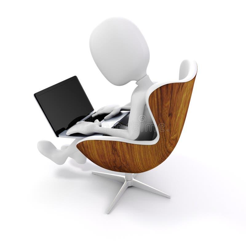 homme 3d s'asseyant dans une chaise, travaillant à l'ordinateur portable illustration de vecteur