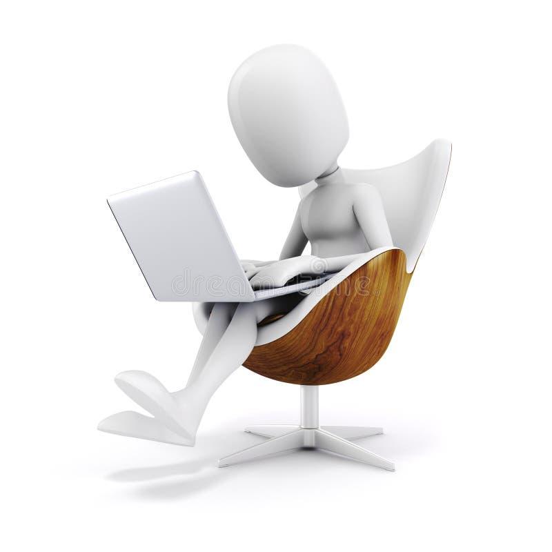 homme 3d s'asseyant dans une chaise, travaillant à l'ordinateur portable illustration libre de droits