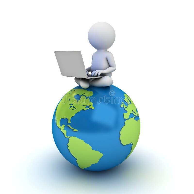 homme 3d s'asseyant sur la carte bleue de globe et à l'aide de l'ordinateur portable illustration libre de droits