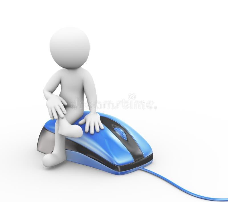 homme 3d s'asseyant sur le dispositif de souris d'ordinateur illustration libre de droits