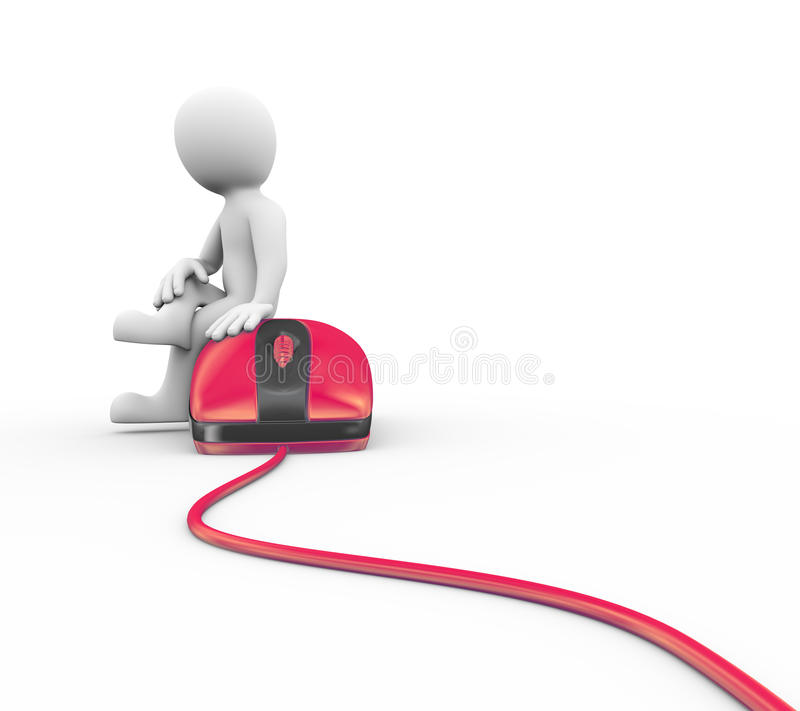 homme 3d s'asseyant sur le dispositif de souris rouge illustration stock