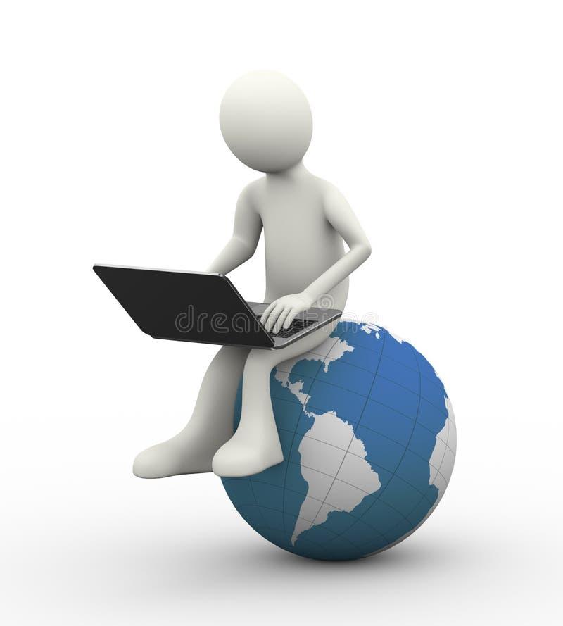 homme 3d s'asseyant sur le globe avec l'ordinateur portable illustration libre de droits