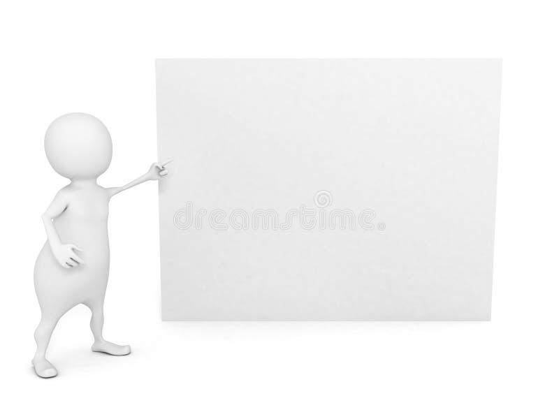 homme 3d se dirigeant à la carte de visite professionnelle vierge blanche de visite illustration libre de droits