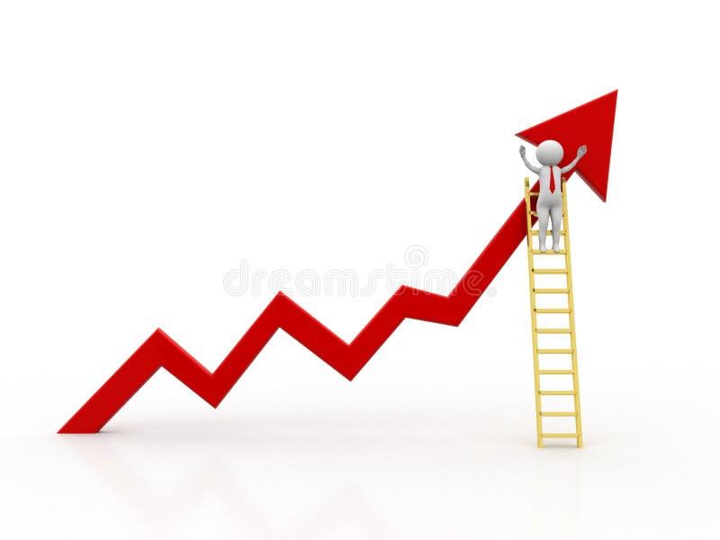 homme 3d se tenant avec des bras grands ouverts sur le graphique de gestion de croissance avec l'échelle en bois d'isolement au-d illustration stock