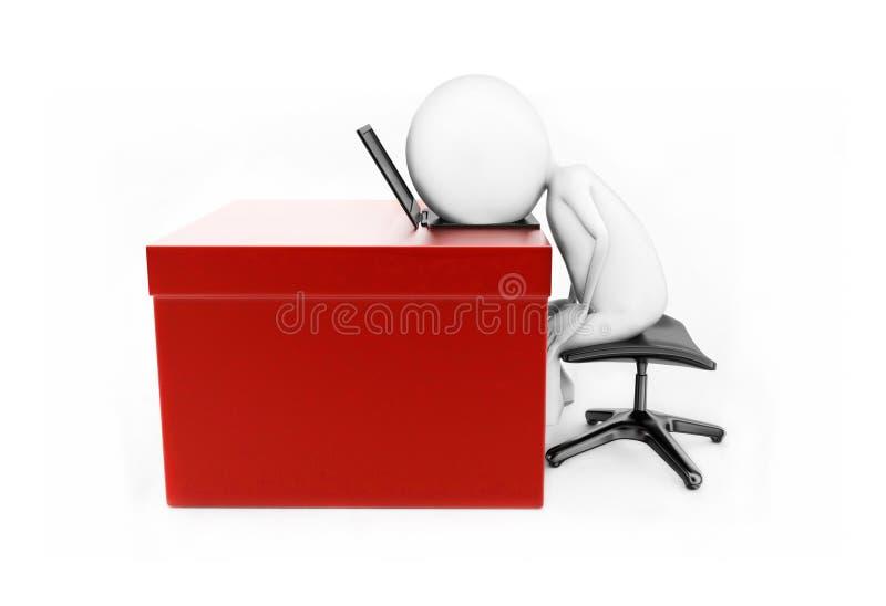 homme 3d se trouvant sa tête au-dessus de l'ordinateur portable qui est placé au-dessus d'un bureau Co illustration libre de droits