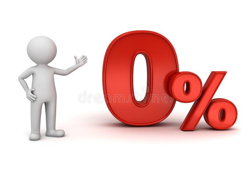 homme 3d tenant et présent à rouge les pour cent zéro ou 0 % illustration libre de droits