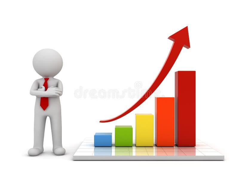 homme 3d tenant et présent le graphique de gestion de croissance avec le concept en hausse rouge de flèche illustration stock
