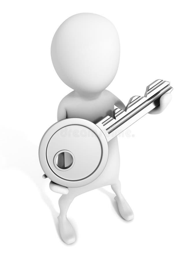 homme 3d tenant la clé métallique de concept du succès sur le blanc illustration stock