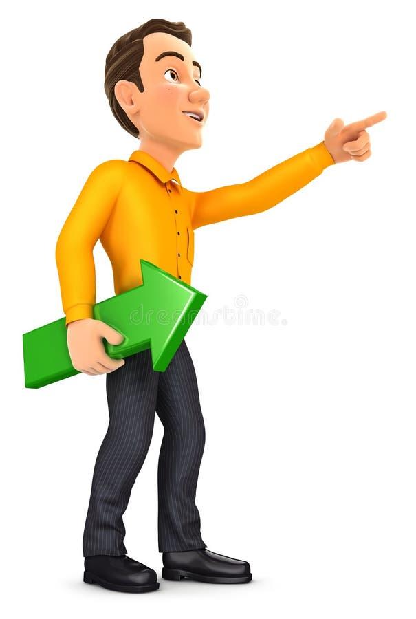 homme 3d tenant la flèche verte et la direction de pointage illustration stock