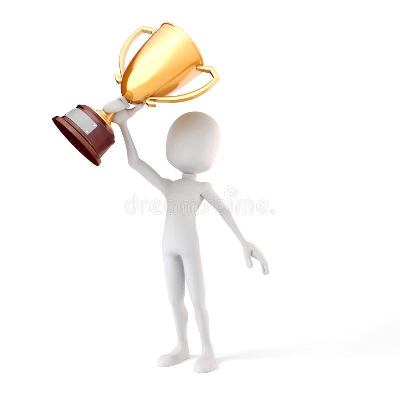 homme 3d tenant une tasse de trophée d'or illustration stock