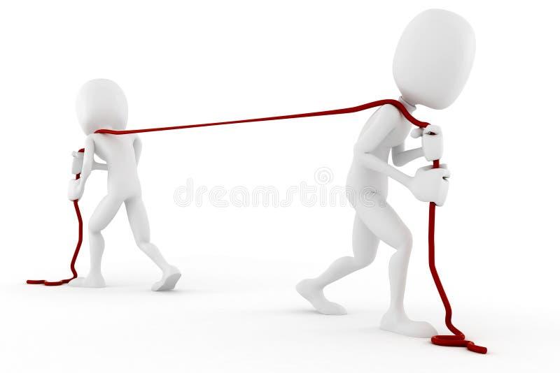 homme 3d tirant une corde illustration stock