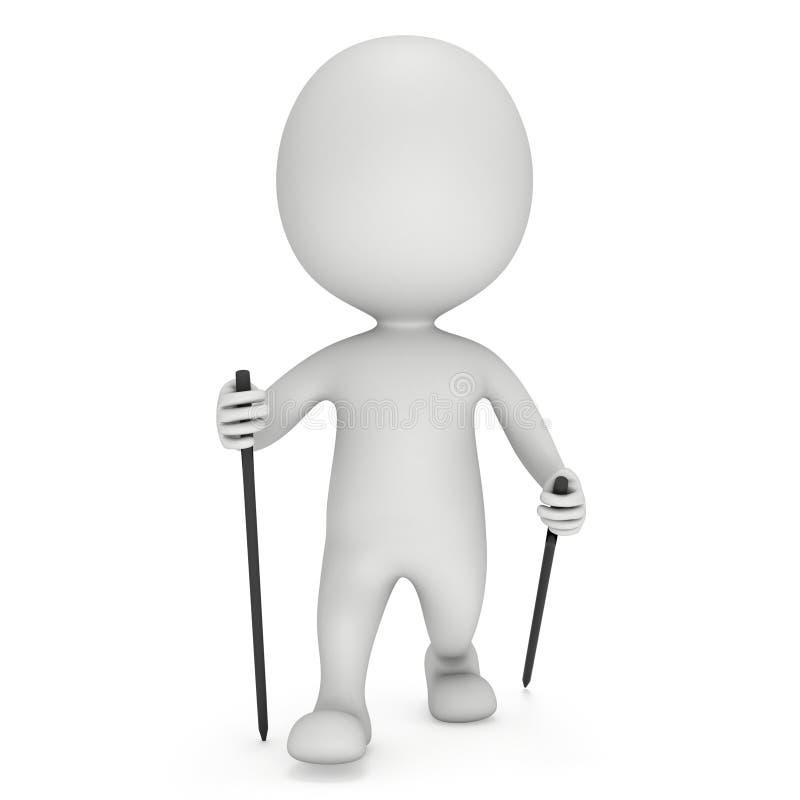 Homme 3d vide blanc de marche de nordic illustration libre de droits