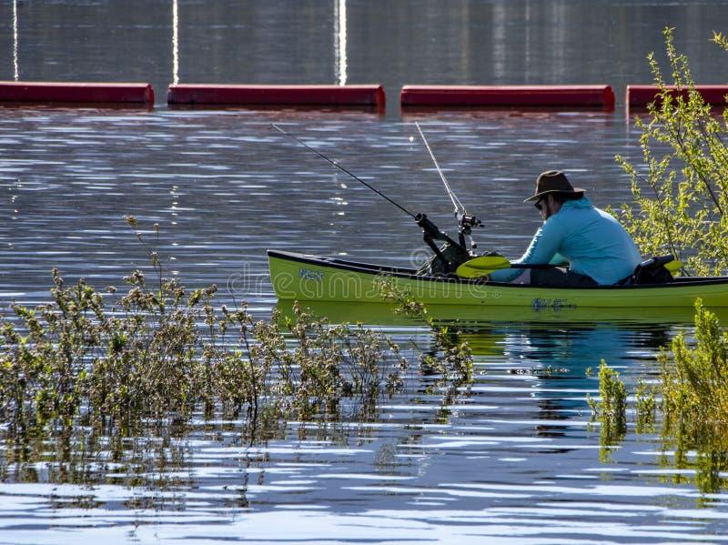 Homme dans de petits poissons de bateau de palette dans les marécages au lac Cachuma, Santa Barbara County photographie stock