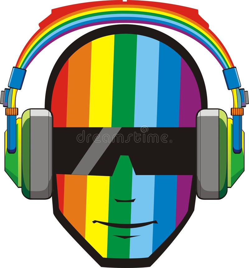 Homme dans des écouteurs dans des couleurs d'arc-en-ciel photos stock