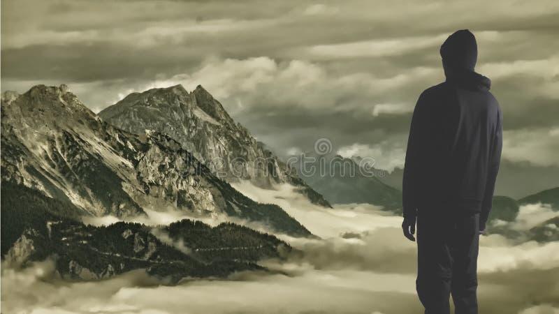 Homme dans des vêtements foncés regardant un paysage sombre d'imagination photographie stock libre de droits