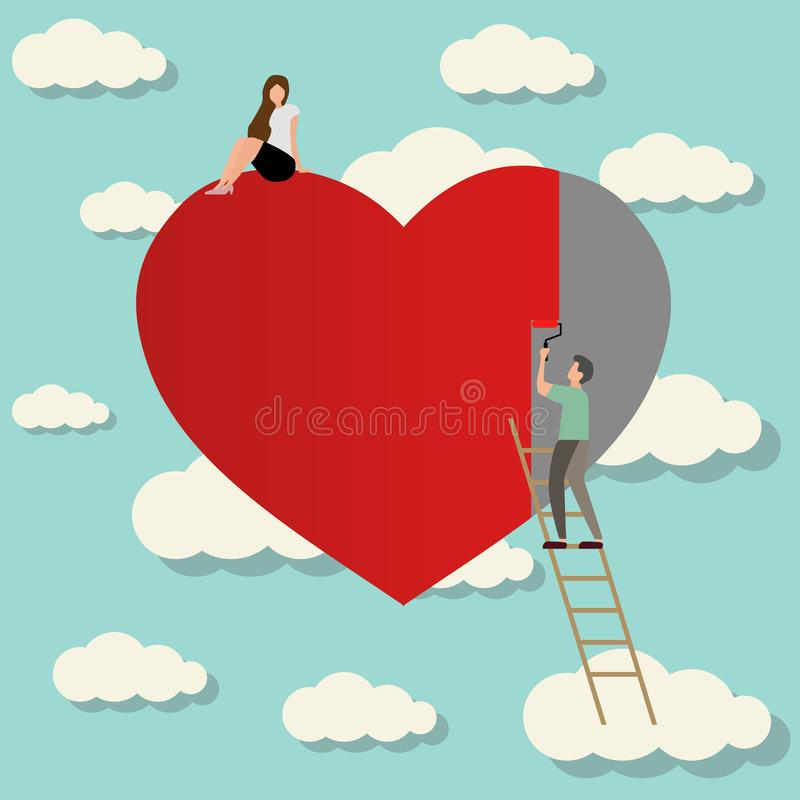 homme dans l'amour avec le coeur de peinture de fille illustration de vecteur