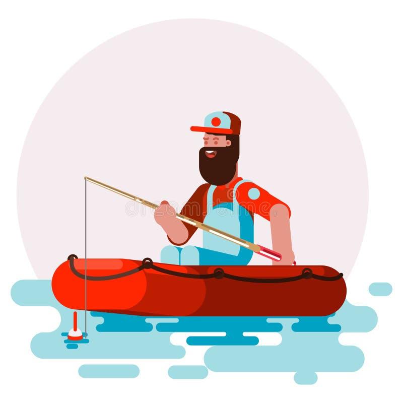 Homme dans l'essai de bateau dans le coffret un poisson illustration libre de droits