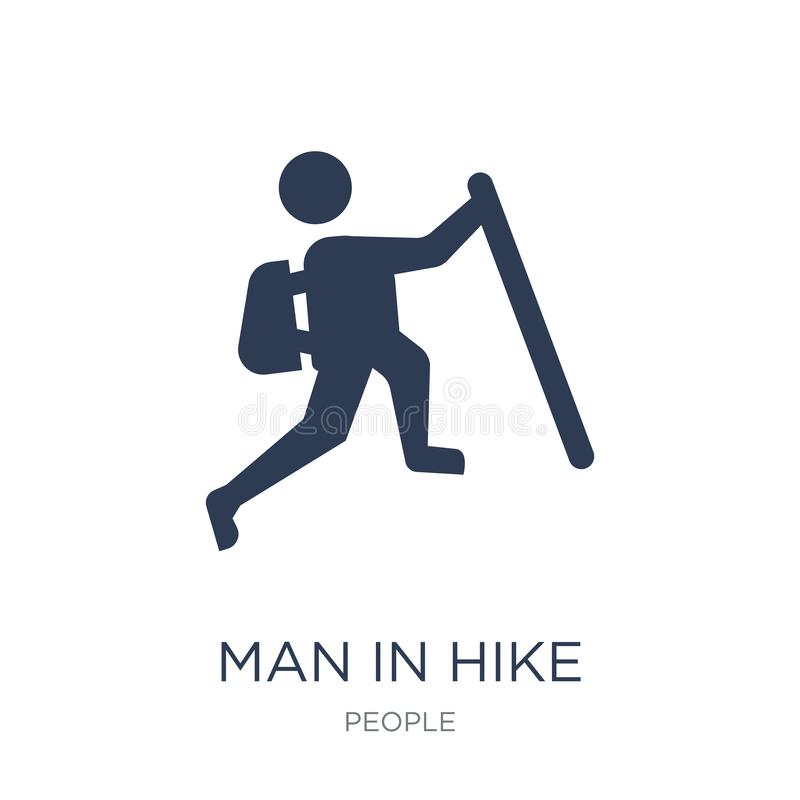 Homme dans l'icône de hausse Homme plat à la mode de vecteur dans l'icône de hausse sur b blanc illustration stock