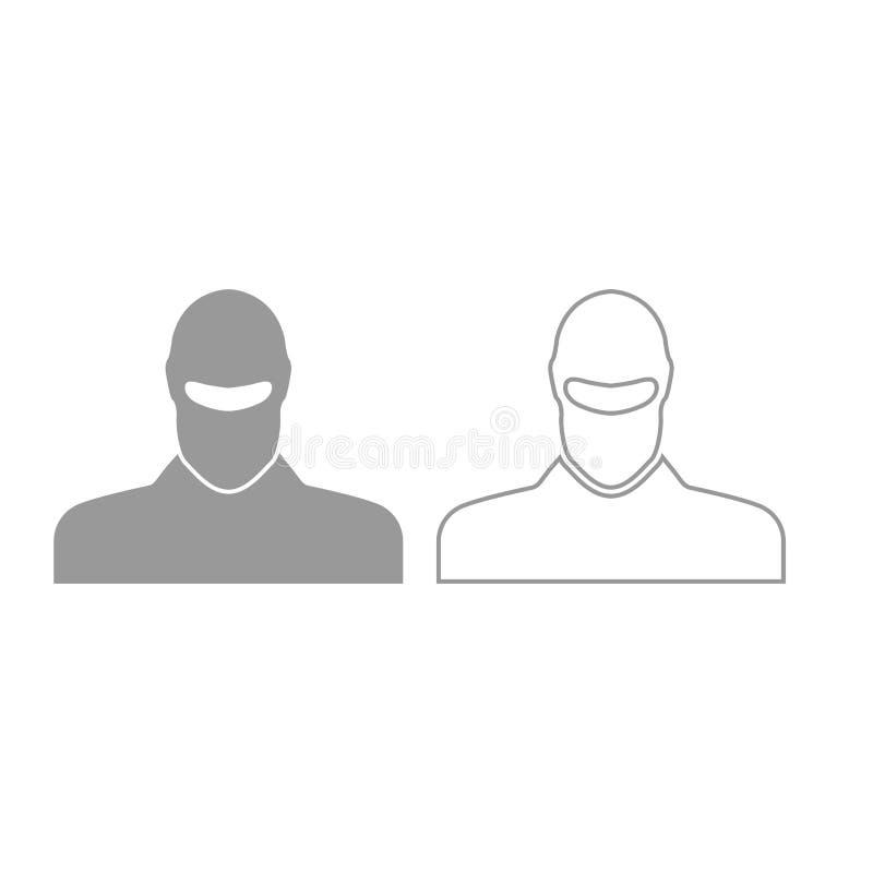 Homme dans l'icône de passe-montagne ou de pasamontanas Ensemble de gris illustration stock