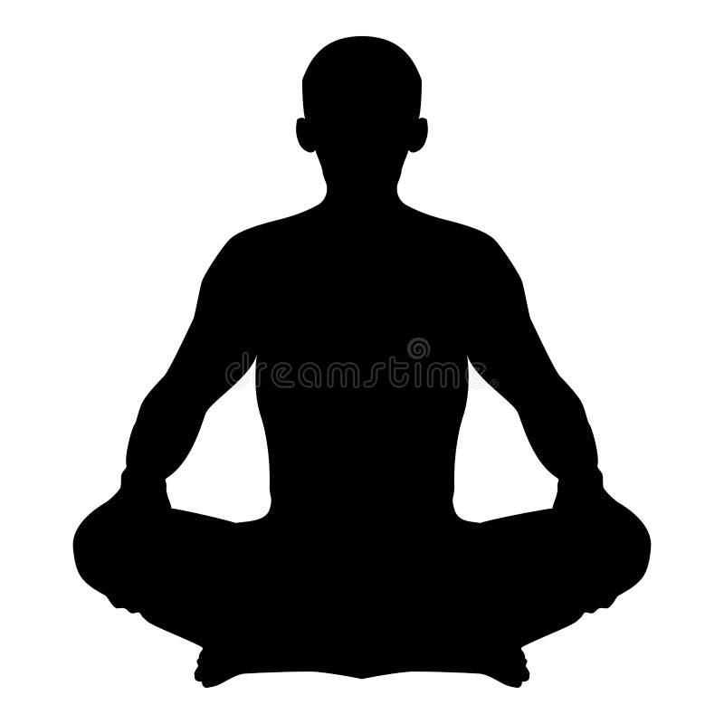 Homme dans l'illustration de couleur de noir d'icône d'Asana de silhouette de position de méditation de pose de yoga de lotus de  illustration libre de droits