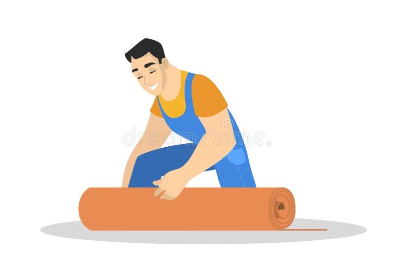 Homme dans l'uniforme ?tendant le tapis sur le plancher illustration de vecteur