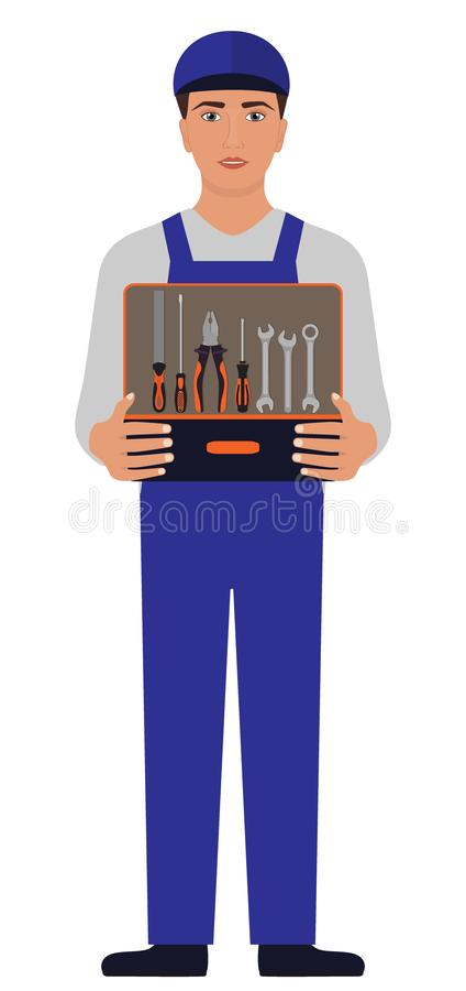 Homme dans l'uniforme bleu, un mécanicien ou le serrurier, tenant une boîte à outils ouverte avant se avec la râpe, pinces, tourn illustration libre de droits