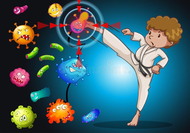 Homme dans l'uniforme de karaté donnant un coup de pied des bactéries illustration stock