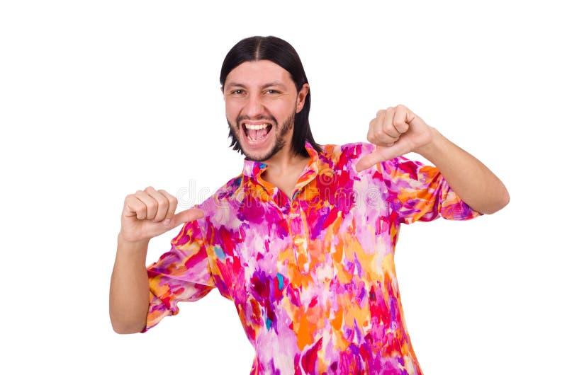 Homme dans la chemise rose d'isolement sur le blanc images stock