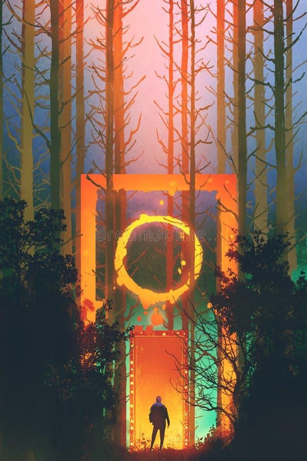 Homme dans la forêt enchantée avec la porte d'imagination illustration stock